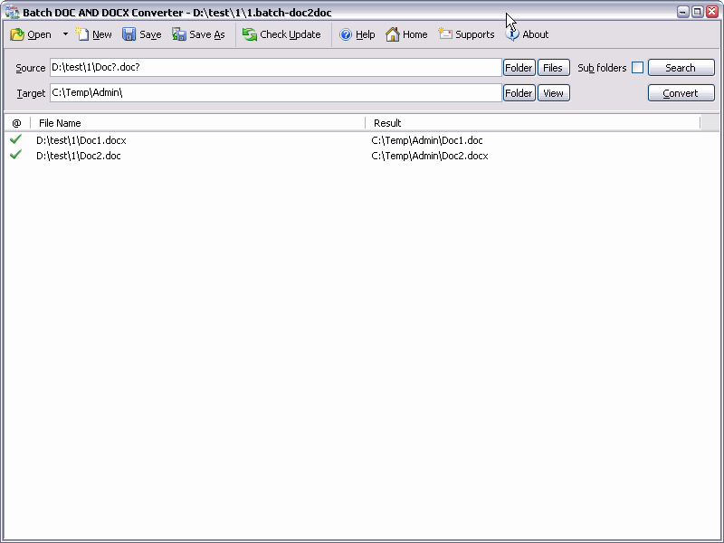 Batch DOCX to DOC Converter 2011.3.403