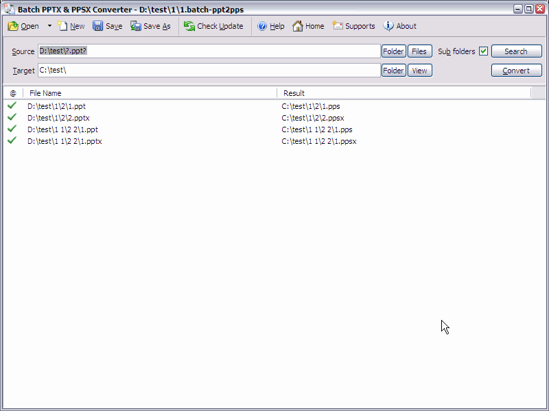 Batch PPTX to PPSX Converter full screenshot