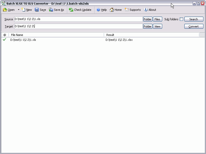 Batch XLSX to XLS Converter Screenshot